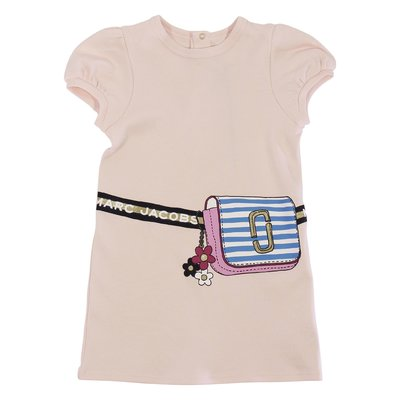 Little Marc Jacobs powder pink trompe l'oeil print cotton jersey dress