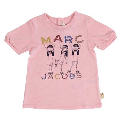 T-shirt rosa con dettaglio logo in jersey di cotone