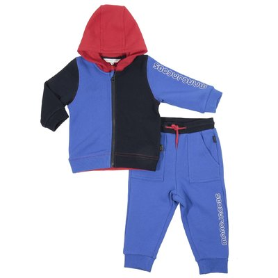 Color blocking cotton hoodie and sweatpants set