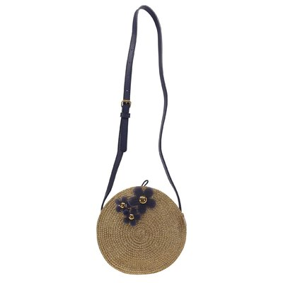 Golden raffia effect rounded bag with daisies