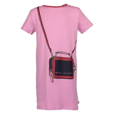 Pink logo detail cotton jersey trompe l'oeil effect dress