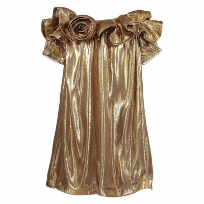 Gold silk dress with ruffles
