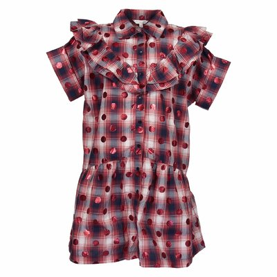 Red checkered cotton poplin dress