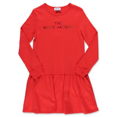 Little Marc Jacobs red logo detail cotton jersey dress