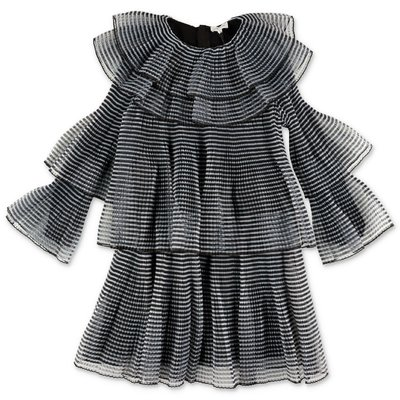 Little Marc Jacobs striped pleated stretch tulle dress