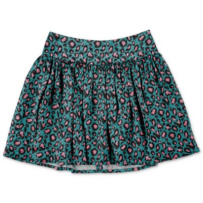 Little Marc Jacobs emerald green animal print techno fabric skirt