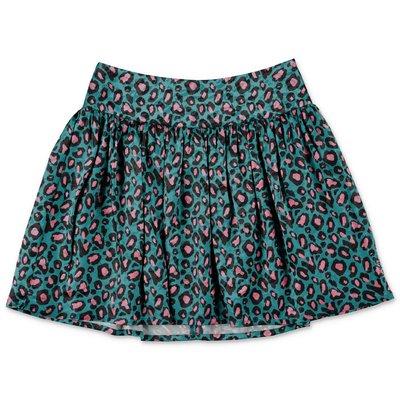 Little Marc Jacobs gonna verde smeraldo stampa animalier in tecno tessuto