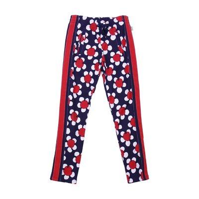 Pantaloni in cotone interlock rossi e blu bambina con stampa margherita