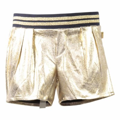 Metallic golden vintage effect techno shorts