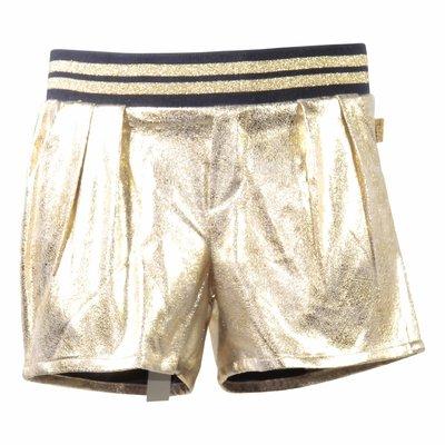 Shorts in tessuto techno metallizzati oro effetto vintage