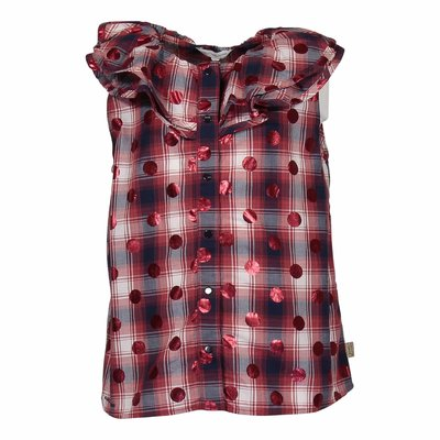 Little Marc Jacobs red checkered cotton poplin blouse