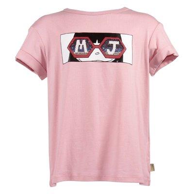 T-shirt rosa in jersey di cotone con dettaglio logo