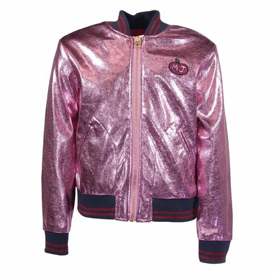 Pink faux leather metallic leather