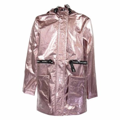 Pink coated rain jacket with hood