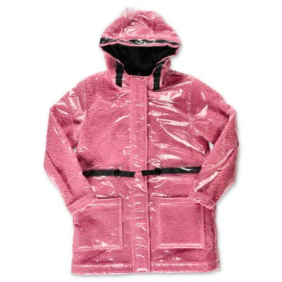 Little Marc Jacobs pink coated eco shearling raincoat parka