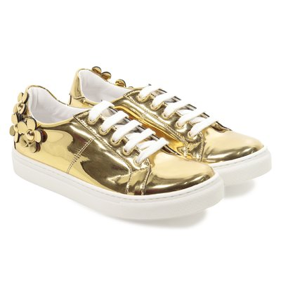 Metallic golden faux leather sneakers