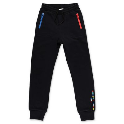 Little Marc Jacobs pantaloni neri in felpa di cotone
