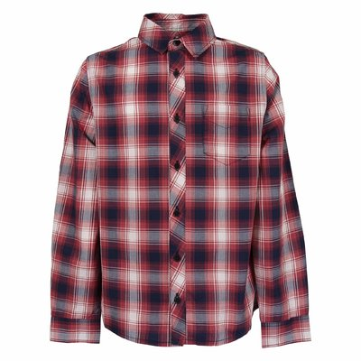 Red and blue checkered cotton muslin shirt
