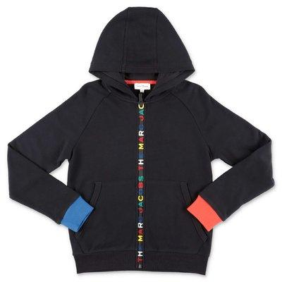 Little Marc Jacobs felpa nera in cotone con logo e cappuccio