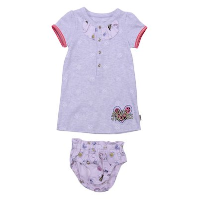 Cotton jersey set of marled grey t-shirt and pink diaper cover