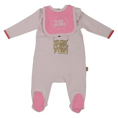 Pink cotton jersey two piece set with romper & bib