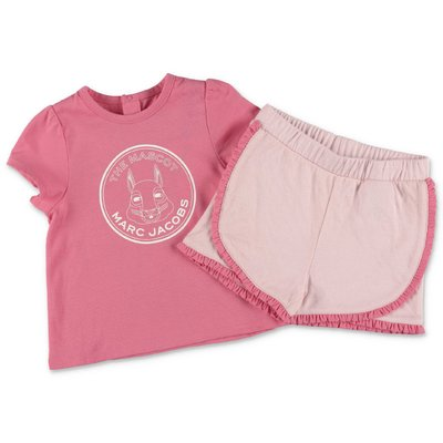 Little Marc Jacobs pink cotton jersey jumpsuit with t-shirt & shorts