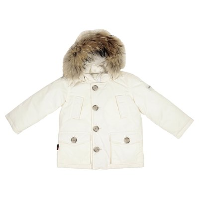 White nylon down jacket with fur edge