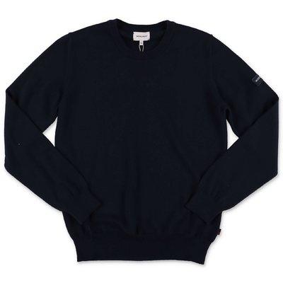 Woolrich pullover blu scuro in maglia di cotone e lana