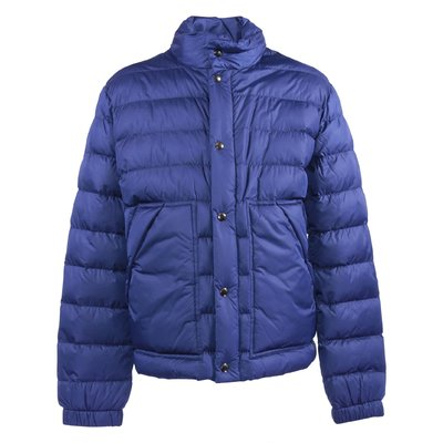 Blue nylon ultra-lightweight down jacket