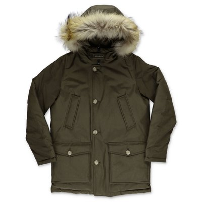 Woolrich military green nylon down feather jacket with fur edge hood