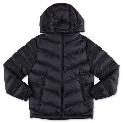 Woolrich dark blue nylon down jacket with hood