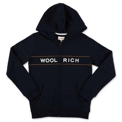Woolrich felpa blu navy in cotone con cappuccio