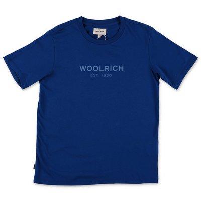 Woolrich t-shirt blu in jersey di cotone