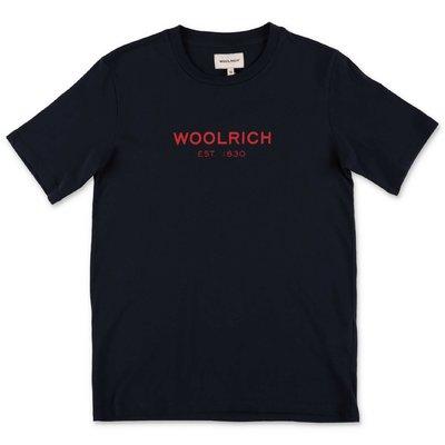 Woolrich t-shirt blu scuro in jersey di cotone
