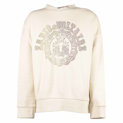 Beige cotton sweatshirt with decorated logo