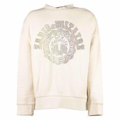 Beige cotton sweatshirt with decorated logo