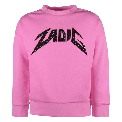 Felpa rosa shocking in cotone con logo
