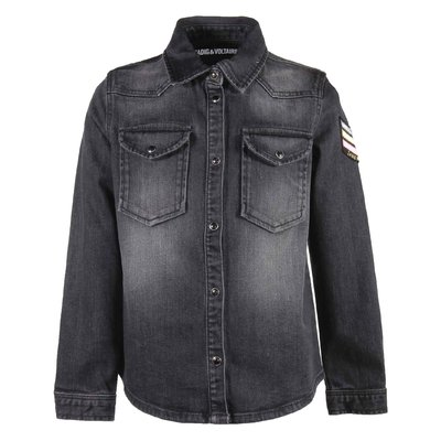 Black cotton denim vintage effect shirt