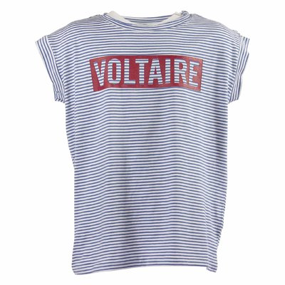 Zadig & Voltaire logo detail white and light blue stripes cotton jersey tank top