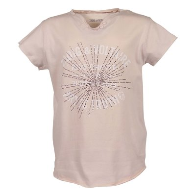 Powder pink logo detail cotton jersey t-shirt with crystals