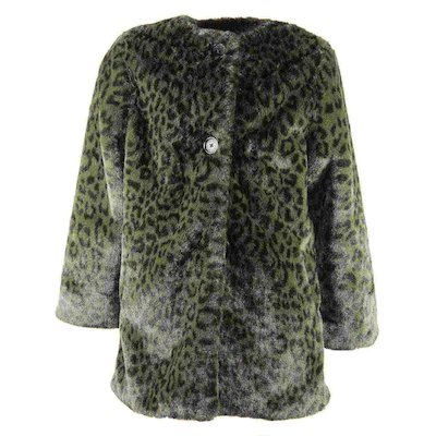 Green leopard print faux fur teen girl coat