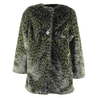 Green leopard print faux fur teen girl coat