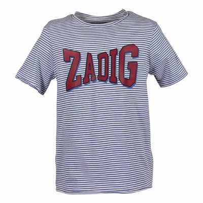 White and light blue stripes logo detail cotton jersey t-shirt