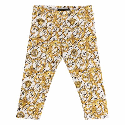 Baroque print stretch cotton leggings