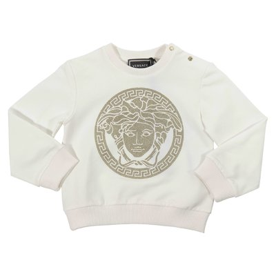 White Medusa print cotton sweatshirt