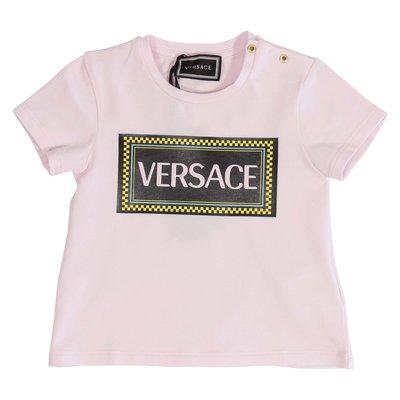 T-shirt rosa in jersey di cotone con logo 90s vintage