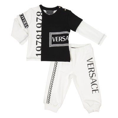 Black and white logo detail cotton sweatshirt and sweatpants set