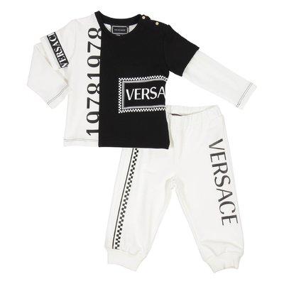 Black and white logo detail cotton sweatshirt and sweatpants set