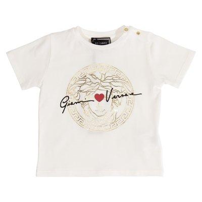 T-shirt bianca in jersey di cotone GV signature Medusa