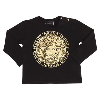 Black gold metallic Medusa detail cotton jersey t-shirt